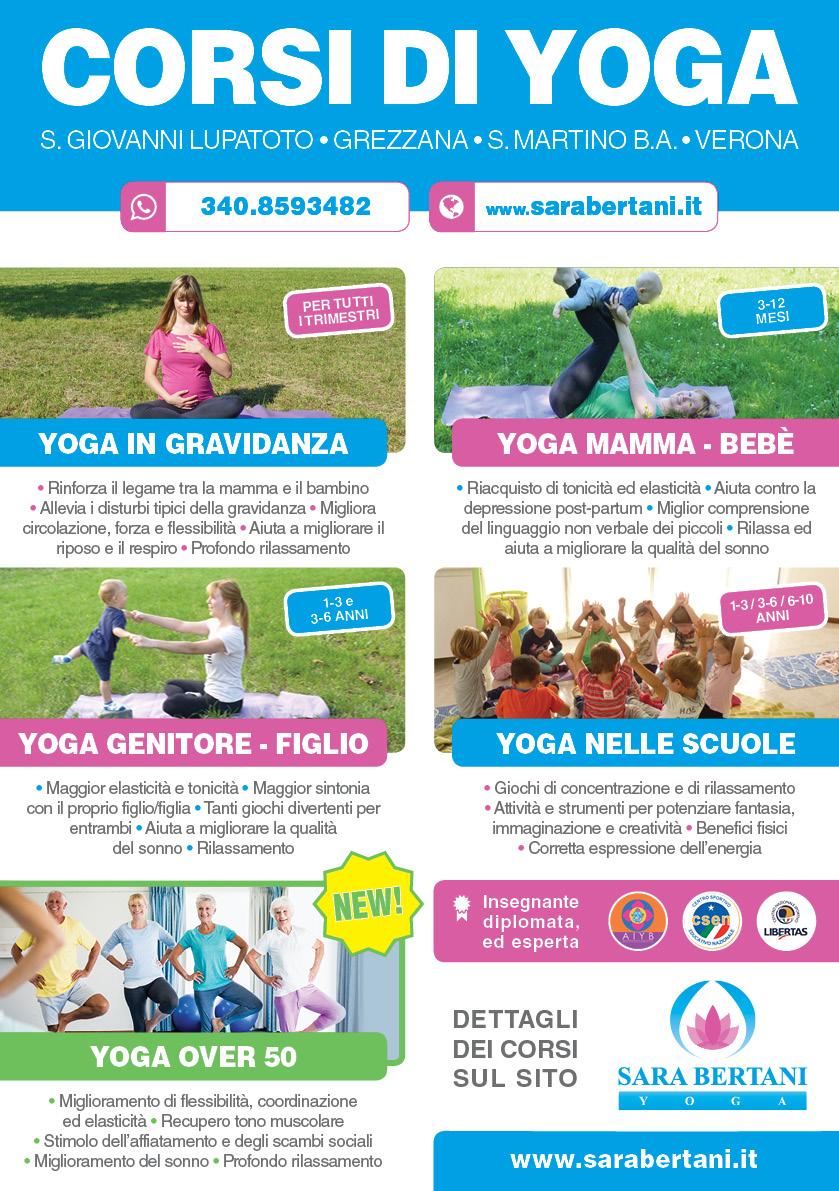 Volantino corsi di yoga a verona